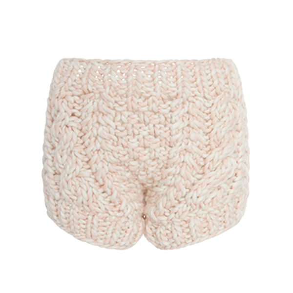 Large i love mr mittens arled cable knit wool shorts