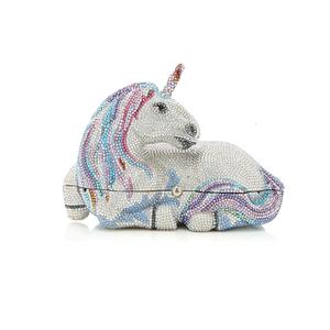 Medium judith leiber couture lunaria unicorn crystal clutch