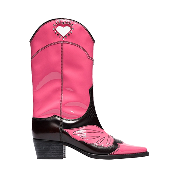 Large ganni pink and black marlyn 45 leather cowboy boots