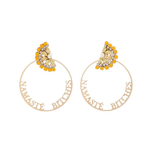 Large anton heunis gold metallic namaste swarovski crystal hoop earrings