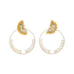 Medium anton heunis gold metallic namaste swarovski crystal hoop earrings