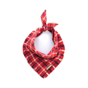 Medium foggy doggy country plaid flannel dog bandana