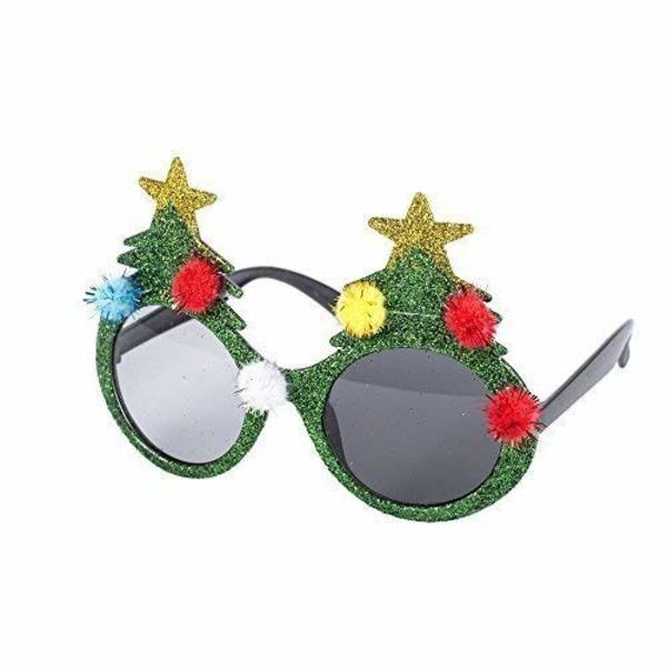 Large novelty christmas theme glasses  christmas tree  santa  reindeer  snowflake etc   green xmas tree with pom poms