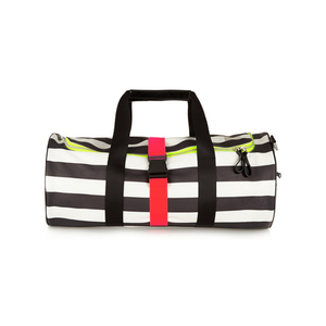 Medium monreal london striped neon trimmed leather holdall