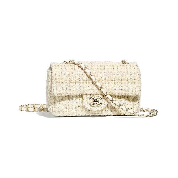 Large mini flap bag chanel tweed   gold tone metal