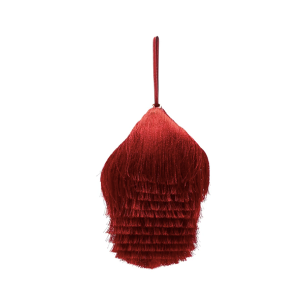 Large hillier bartley lantern fringed leather clutch