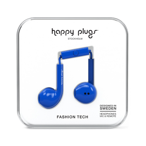 Large happy plugs earbud plus earphones cobalt