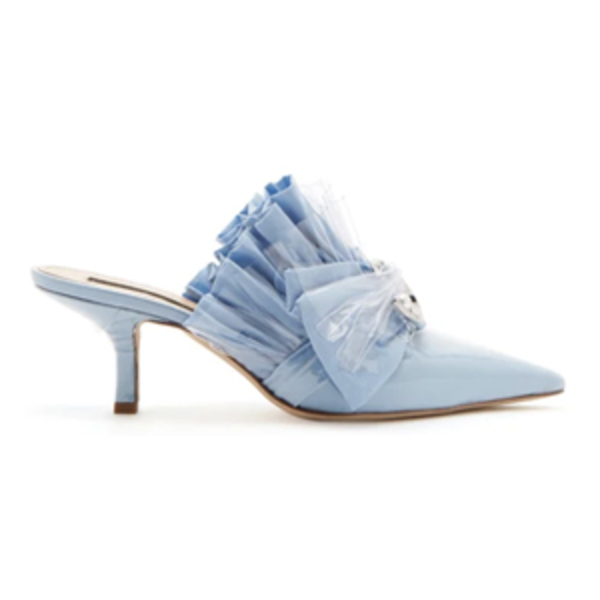 Large mightnight 00 ruched cotton   pvc kitten heel mules