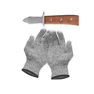 Medium oyster knife with pair of gloves anti daily cuts level 5 protection en 388 certified  kitchen  gardening  diy