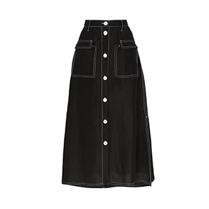 Medium mnz contrast stitch silk blend skirt
