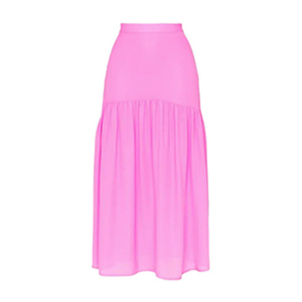 Large mnz silk high waisted tiered skirt