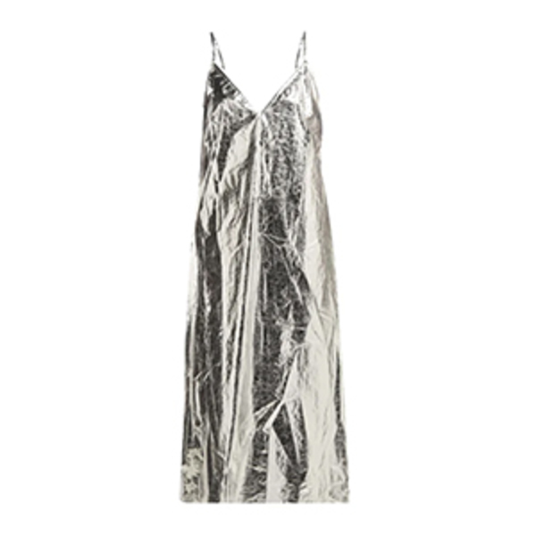 Large raey v neck foil midi slip dress