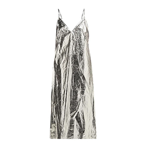 Medium raey v neck foil midi slip dress