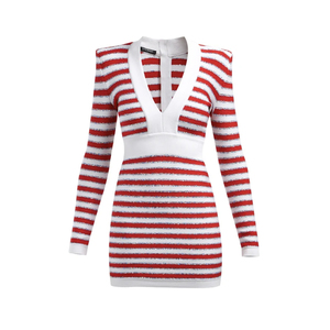 Medium balmain intarsia stripe v neck knitted mini dress