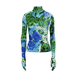 Medium richard quinnfloral print velvet turtleneck top