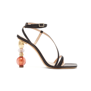 Medium bordighera beaded heel leather sandals