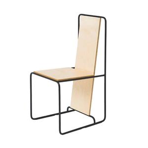 Medium line chair  oak veneer and metal structure    gerrit rietveld inspiration