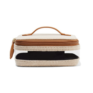 Medium paravel mini see all vegan leather trimmed canvas and tpu cosmetics case