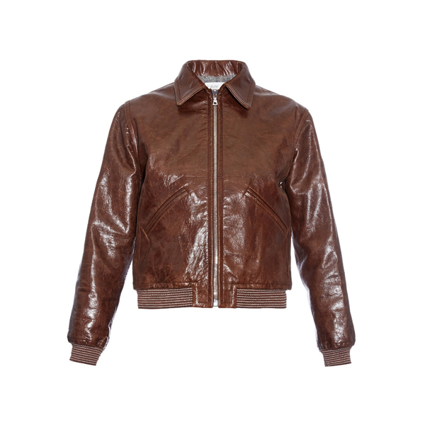 Large matches hillier bartley pointed collar leather bomber