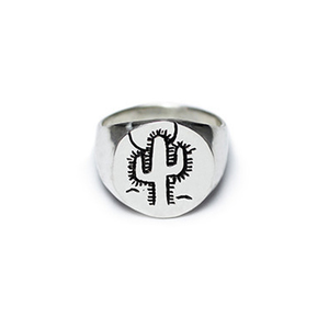 Medium cactus hand made sterling silver signet ring