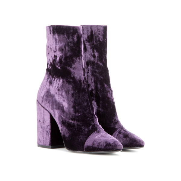 Dries Van Noten. Purple velvet boots