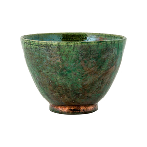 Medium anthony shapiro raku tea bowl emerald and copper