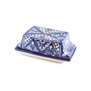 Medium emilia ceramics blue floral butter dish