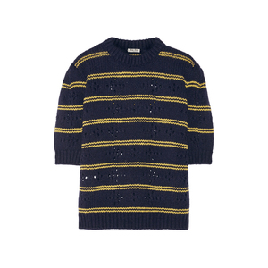Medium net miu miu pointelle panelled striped wool sweater
