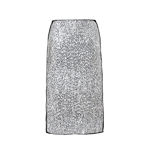 Medium nina ricci silver silk blend jupe skirt