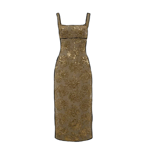 Medium rochas sleeveless fitted brocade dress