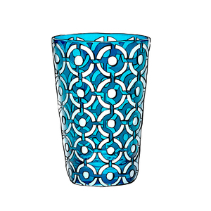 Medium artel blue crystal vase