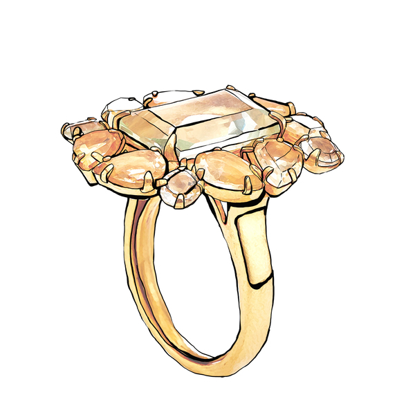 Large bounkit 12k gold plated green amethyst and citrine ring