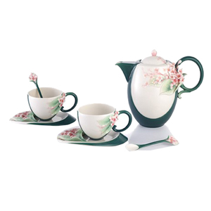 Medium distinctive decor franz porcelain shinig hope lilac teapot cup saucer spoon set