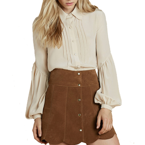 Medium stoned immaculate secretary silk blouse in cream