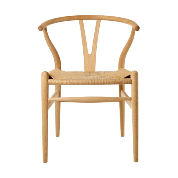 Large hans wegner wishbone chair oak   natural paper cord seat