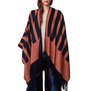 Medium rodebjer ps16 stripe poncho navy tangerine front focus 1
