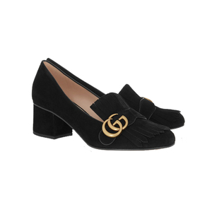 Medium gucci fringed suede loafers