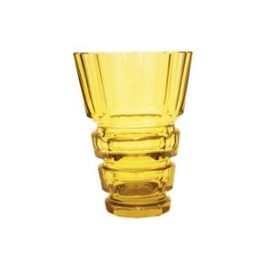 Medium pamono yellow art deco bohemian crystal glass vase