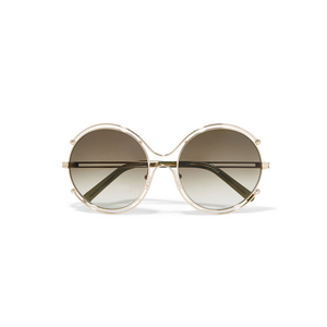 Medium chloe isidora round frame gold tone and acetate sunglasses