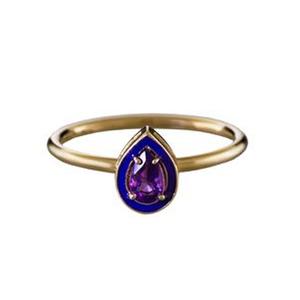 Medium twistonline alison lou amethyst and purple enamel stack ring