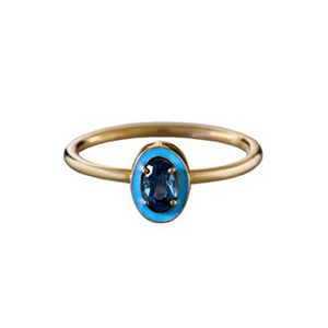 Medium twistonline  alison lou blue topaz and blue enamel stack ring