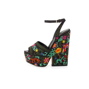 Medium sergio rossi embroidered canvas platform sandle black2