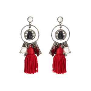 Medium oscar de la renta tassel and charm earrings