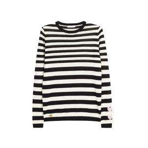 Medium harveynichols bella freud monochrome striped fine knit cashmere jumper