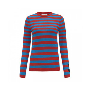 Medium cashmere stripes   hearts jumperred