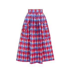 Medium red check visiting skirt