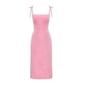 Medium rose silk taffeta night garden dress