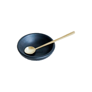 Medium spartanshop ceramic salt cellar and gold spoon set