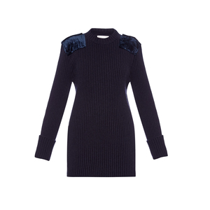 Medium hillier bartleymilitary contrast patch ribbed knit sweater