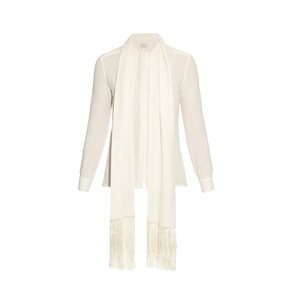 Medium matches hillier bartley fringed scarf silk crepe blouse